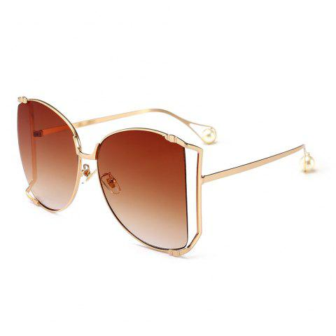 Cut Out Lens Oversized Metal Square Sunglasses - TEA COLORED