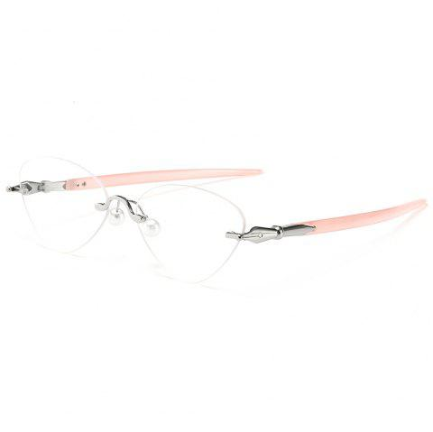 d09fd8c6e8a 41% OFF  2019 Straight Legs Rimless Cat Eye Sunglasses In PINK WHITE ...