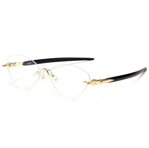 Straight Legs Rimless Cat Eye Sunglasses - BLACK WHITE