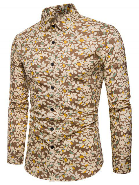Long Sleeve Tiny Florals Print Shirt - BROWN 2XL