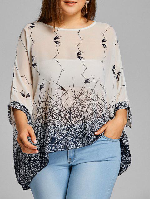 Print Chiffon Plus Size Flowy Top - WHITE ONE SIZE
