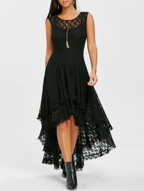 Layered Lace High Low Dress - BLACK M