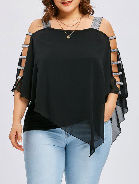 Plus Size Ladder Cut Overlay Asymmetric Blouse - BLACK XL
