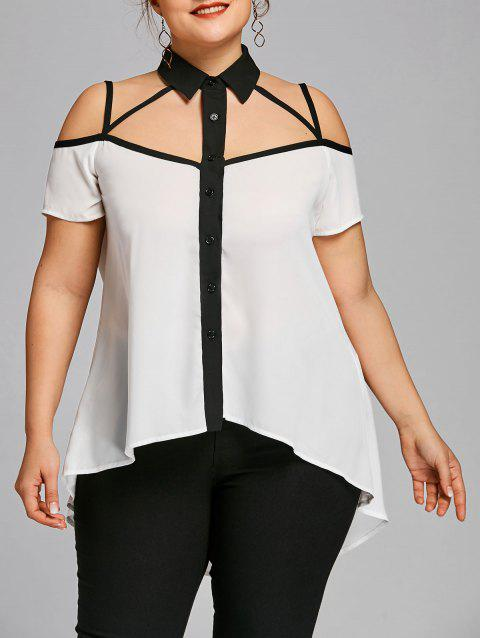 Plus Size Two Tone High Low Hem Strappy Blouse - WHITE XL