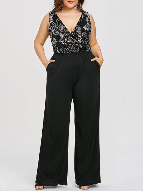 Plus Size Sequins Trim Plunging Palazzo Jumpsuit - BLACK 4XL