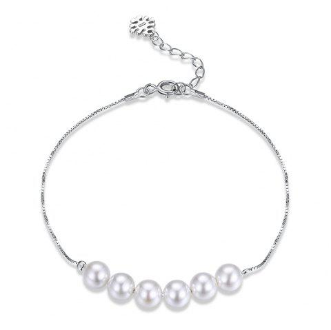 Artificial Pearl Sterling Silver Chain Bracelet - WHITE