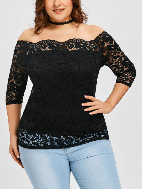 Plus Size Scalloped Off The Shoulder  Blouse - BLACK XL