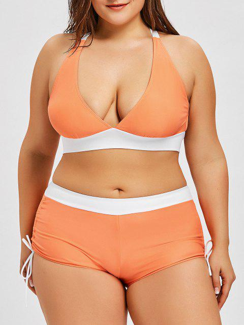 aa0bb756b5 17% OFF] 2019 Cross Back Plus Size Boyshort Bikini In ORANGE | DressLily