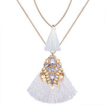 Artificial Crystal Tassel Discs Layered Necklace - WHITE WHITE