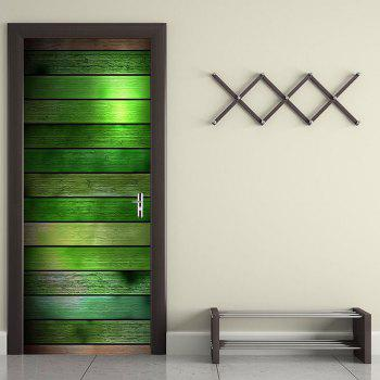 Colorful Wood Board Pattern Door Art Decals - COLORFUL COLORFUL