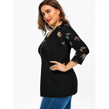 Plus Size Butterfly Print Zip Neck T-shirt - BLACK BLACK