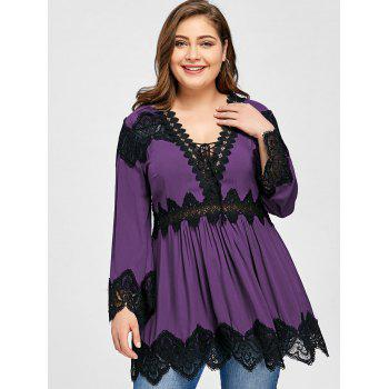 Plus Size Lace Panel Long Sleeve Peplum Blouse - PURPLE PURPLE