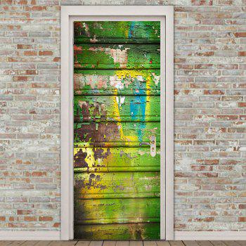 Paint Peeling Plank Print Room Decor Door Stickers - COLORFUL COLORFUL