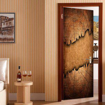 Broken Wood Board Printed Door Stickers - BROWN 38.5*200CM*2PCS