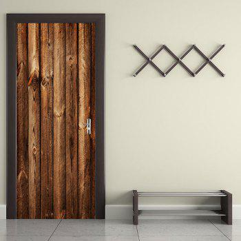 Wood Board Pattern Door Art Decals - BROWN 38.5*200CM*2PCS