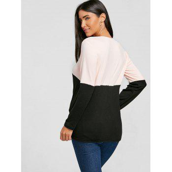 Twist Color Block Long Sleeve Top - BLACK BLACK