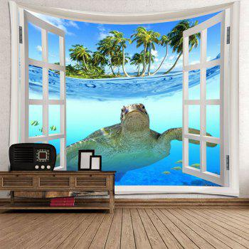 Window Sea Turtle Printed Wall Decor Tapestry - COLORMIX W71 INCH * L71 INCH