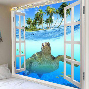 Window Sea Turtle Printed Wall Decor Tapestry - COLORMIX COLORMIX