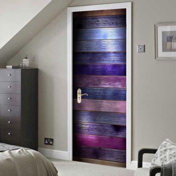 Decorative Colorful Wood Grain Print Door Stickers - COLORFUL COLORFUL