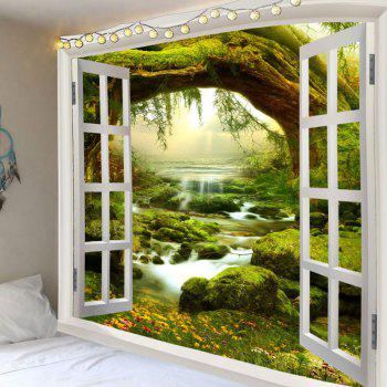 Waterproof Fairyland Tree River Print Wall Tapestry - GREEN GREEN