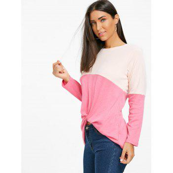 Twist Color Block Long Sleeve Top - ROSE RED ROSE RED