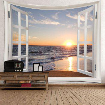 Sea Wave Sunset Beach 3D Window Wall Tapestry - COLORFUL COLORFUL