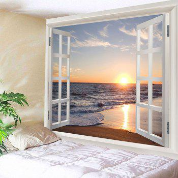 Sea Wave Sunset Beach 3D Window Wall Tapestry - COLORFUL W91 INCH * L71 INCH