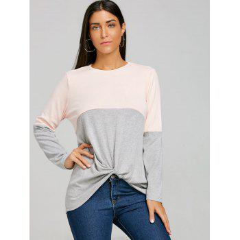 Twist Color Block Long Sleeve Top - GRAY 2XL