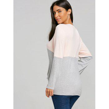 Twist Color Block Long Sleeve Top - GRAY XL