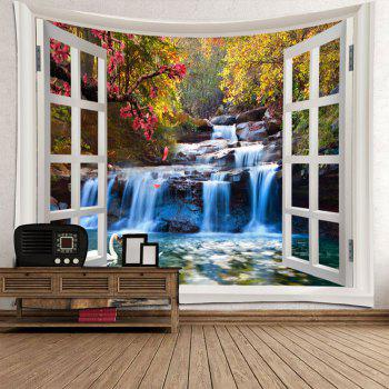 Mountain Waterfall Swan Love Print Tapestry Wall Decor - GREEN W71 INCH * L71 INCH