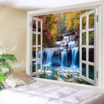 Mountain Waterfall Swan Love Print Tapestry Wall Decor - GREEN W79 INCH * L71 INCH