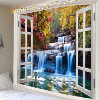 Mountain Waterfall Swan Love Print Tapestry Wall Decor - GREEN GREEN