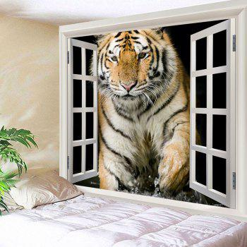 Art Decor Tiger Printed Waterproof Hanging Tapestry - BROWN W91 INCH * L71 INCH