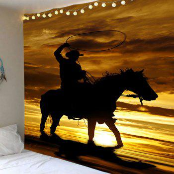 Wall Art West Cowboy Rider Printed Tapestry - BROWN BROWN