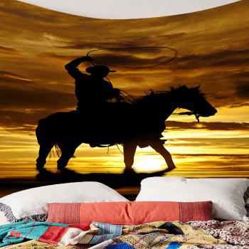 Wall Art West Cowboy Rider Printed Tapestry - BROWN W79 INCH * L71 INCH