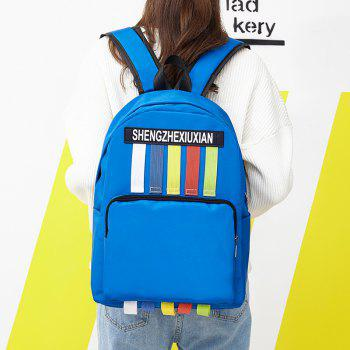 Contrasting Color Striped Backpack - BLUE