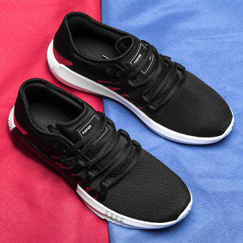 Casual Breathble Mesh Sneakers - BLACK/RED 44