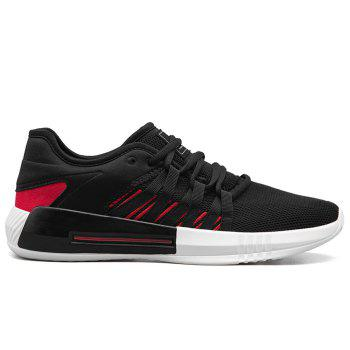 Casual Breathble Mesh Sneakers - BLACK AND RED BLACK/RED