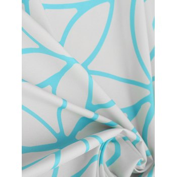 Lotus Print Fringed Beach Throw - BLUE ONE SIZE
