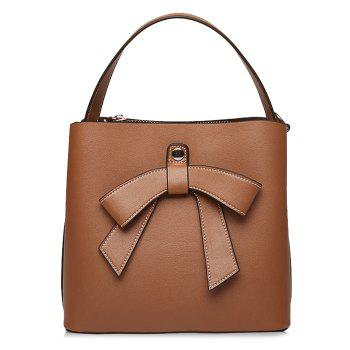 Bow Handbag with Shoulder Strap - BROWN BROWN