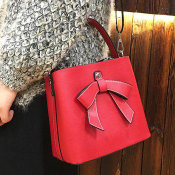 Bow Handbag with Shoulder Strap - RED