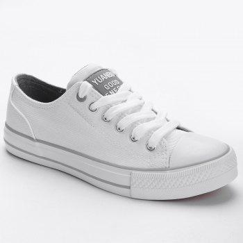 Casual Canvas Skate Shoes - WHITE WHITE