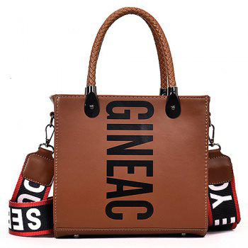 Letter Print Handbag with Shoulder Strap - BROWN BROWN
