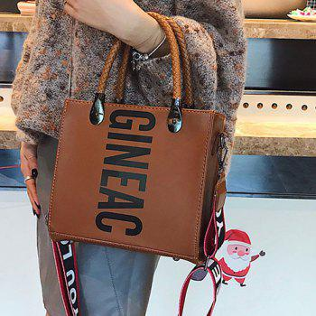 Letter Print Handbag with Shoulder Strap -  BROWN