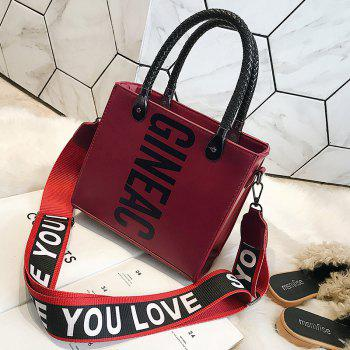 Letter Print Handbag with Shoulder Strap -  WINE RED