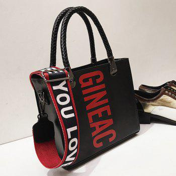 Letter Print Handbag with Shoulder Strap - BLACK