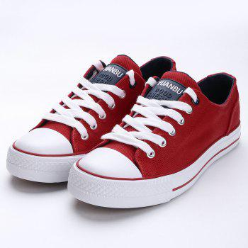 Casual Canvas Skate Shoes - RED 40