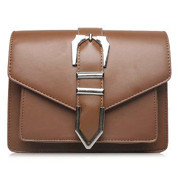 Buckled Stitching Flap Crossbody Bag - BROWN BROWN