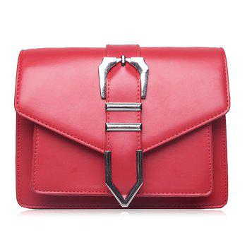 Buckled Stitching Flap Crossbody Bag - RED RED
