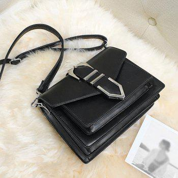 Buckled Stitching Flap Crossbody Bag -  BLACK